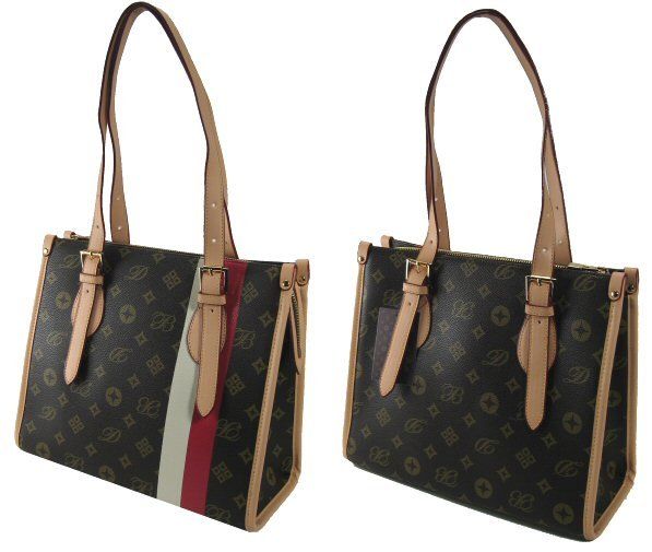 Letter Pattern Double Strap Handbags with 24K Plated Hardware