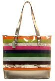 Tote Style Clear Handbags with Opaque Colored Stripes