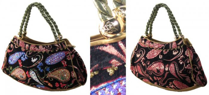 Sequin Woven Tapestry Handbags with Rope Twist Handles
