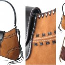 Suede Like Handbags with Laced Design and Tassel Trim