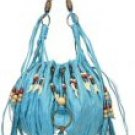 Elcante - Wood Beads and Shells on Pleated Drawstring Handbags