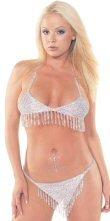 Rhinestone Accented Bikini Set with Hanging Fringe