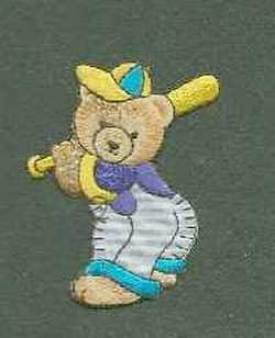 Gorgeous Iron on Boy Teddy bear motif playing baseball
