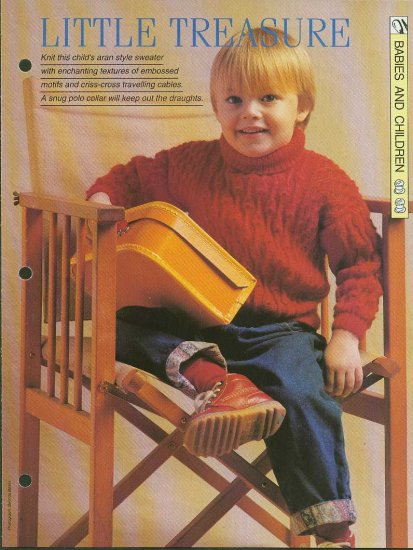 Knitting pattern for childs Aran style sweater.