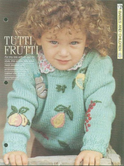 Knitting pattern for tots jumper with embroidered fruit