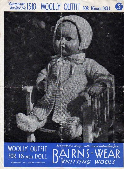 Vintage knitting pattern for 16in doll/reborn outfit. Bairnswear 1310