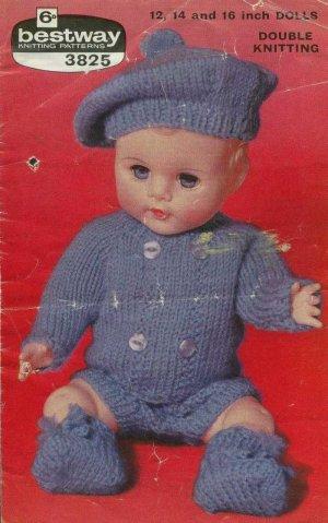 Vintage knitting pattern for boy dolls/reborns. Bestway 3825
