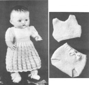 Vintage knitting pattern for Pedigree Doll set. PDF