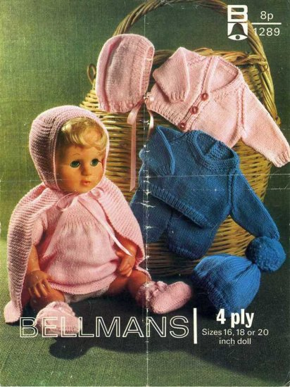 Vintage knitting pattern for dolls/reborns. Bellmans 1289. PDF
