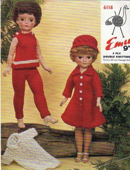 Vintage knitting pattern to fit 20in Teenage doll. Emu 6118 PDF
