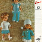 Vintage knitting pattern for dolls outfits. Emu 6696