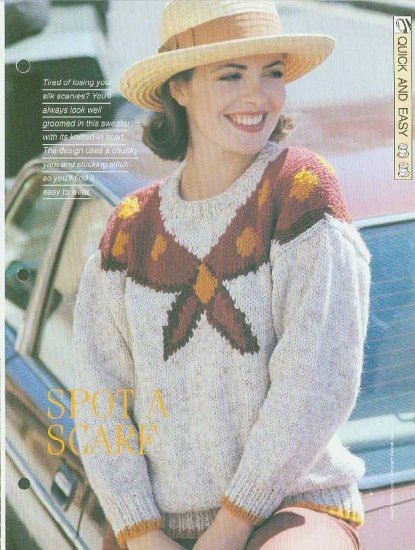 Knitting patterns for Ladies jumper with a knitted in scarf in chunky yarn