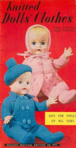 Vintage knitting booklet of dolls/reborn outftits. Weldons 402