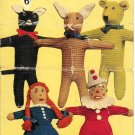 Vintage knitting pattern for 5 kntted toys. So cute