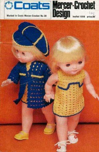 Vintage Crochet pattern for Dolls 12 inch dolls. Coats 1088