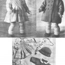 Vintage knitting pattern for Dolls outfit. Coat, dress & hat. 14in Rosebud doll