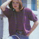 Knitting pattern for Ladies vest top & short sleeved cardigan with beads.