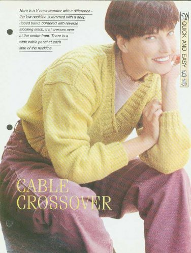 Knitting pattern for ladies Low V neck sweater with wide rib bands & wide cable