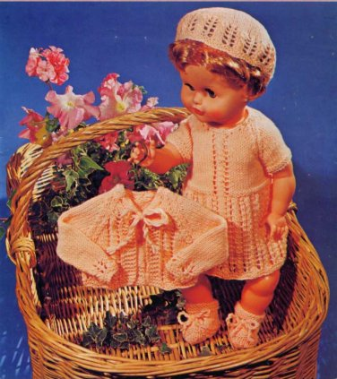 """Vintage Knitting pattern for 20"""" 51cm tall dolls. Dress, jacket, cap and booties"""