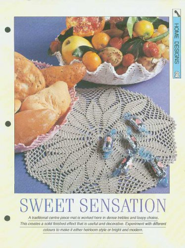 Crochet pattern for a traditional centre piece mat in dense trebles & chains.