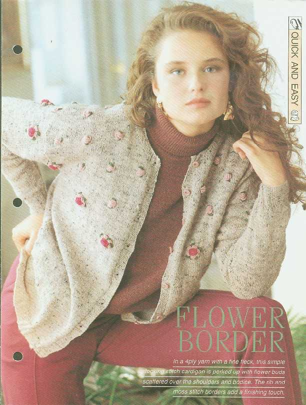 Knitting patterns for Ladies cardigan with Moss & rib borders & added flower buds