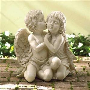 Kissing Cherubim Sculpture - lovely cherub garden/home decor