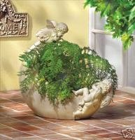 Cherub Moon Planter - unique cherub garden decor