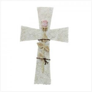Cross Wall Plaque with Rose - wall decor - Cross with Rose