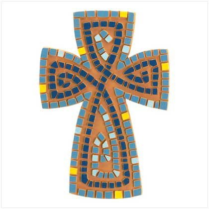 Earthenware Mosaic Cross - SHIPS FREE!!
