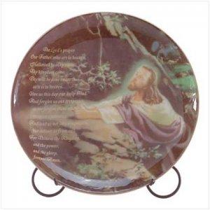 Lord's Prayer Decorative Plate - Jesus in worship - Lord's Prayer