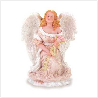 Angel and Rose Figurine - beautiful angel and rose