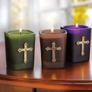 Jeweled Cross Votives - Cross Votives - Candles - Set of 3