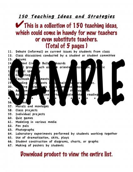 150 Teaching Ideas for New or Substitute Teachers