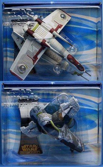 Micro Machines Action Fleet Star Wars: Republic Gunship/ Slave 1 Set Saga AotC 2002 Galoob Hasbro