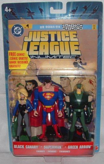 Justice League JLU (3-Pack): Black Canary, Superman, Green Arrow, 2005 DC Animated JLA Universe