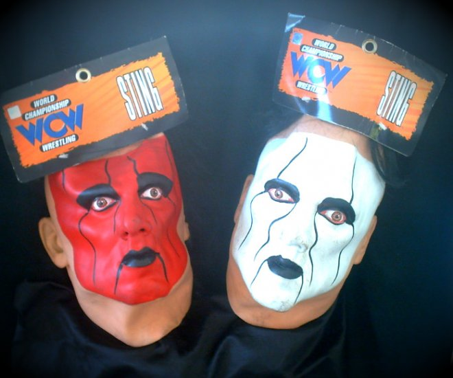 Tna 90s wcw Sting 1999 wwe HoF prop set 2 Nwo sfx masks nwt Hulk Hogan, Ric Flair � Wrestlemania