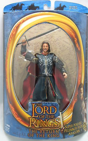 "LotR Aragorn Pelennor Fields-Toybiz 6"" Action Figure MIP-RotK-Return King 2003"