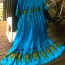 Blue Sundress Dress Skirt [India Tribal] Casual | Vintage Women's Clothing | cosplay larp