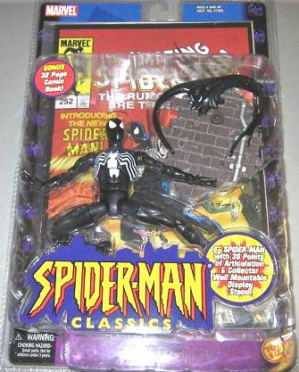Secret Wars Black Spider-Man Classic Legends Symbiote Web of Spiderman figure + Amazing #252 Comic