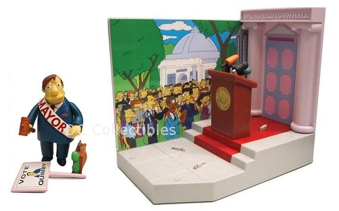 The Simpsons Springfield Town Hall w/ Mayor Quimby Interactive Playset - Playmates Toys 99127