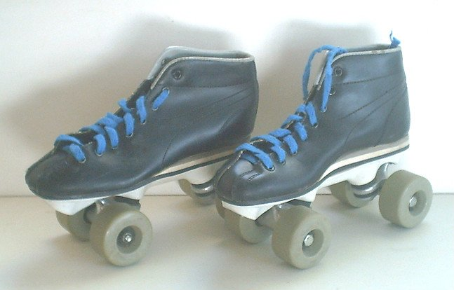 Girls Size 3 Jr. Quad Roller Skates Black/Blue (Vintage) VGC