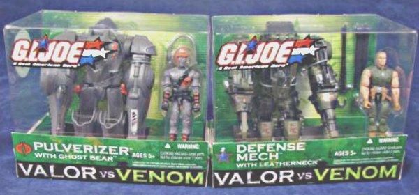 Gi Joe Valor Venom: Defense Mech/Leatherneck, Cobra Pulverizer/Driver-armor exosuit 1:18 vehicle set
