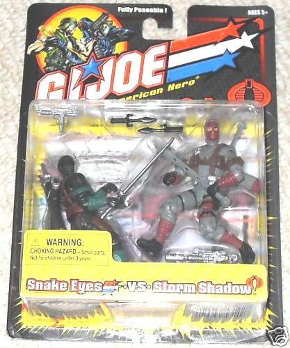 "GI Joe vs. Cobra (2002): Snake Eyes Storm Shadow 2-Pack [variant] - Hasbro 20th Anniversary 3.75"""