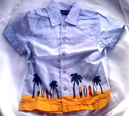 Boys' Toddler-Vintage Beach Surf Shirt-Blue-Casual Top-Sz 5T EUC