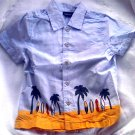 Boys' Toddler-Vintage Beach Surf Shirt-Blue-Casual Top-Sz 5T EUC