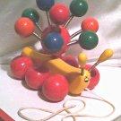 '70s Vintage-Kouvalias Caterpillar-Greek wooden spinning pull toy-handmade in Greece-Antique