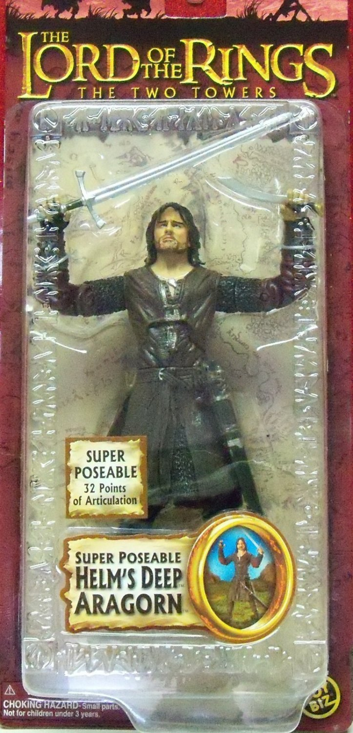 """ToyBiz LOTR 81446: Super Poseable Aragorn (Helm's Deep) 6"""" Trilogy 2005 Two Towers S3, Gentle Giant"""