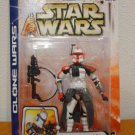 "'03 Clone Wars Army/Republic (Red) Arc Trooper Commander Star Wars EU #43, 84753 Hasbro 3.75"" MOC"