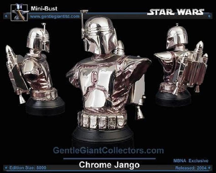 Gentle Giant Jango Fett Bust Exclusive Cold Cast 1:6 Statue, Star Wars AotC [silver chrome] Boba