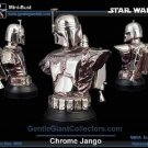 Gentle Giant Jango Fett Bust Exclusive Cold Cast 1:6 Statue, Star Wars AotC [silver chrome] Boba